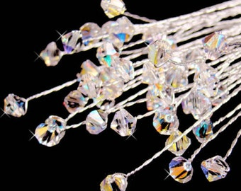 12 Crystal SWAROVSKI LG. 8-10 MM Clear Crystal Stem Wedding Bridal Bouquet Jewelry Hair Jewelry Boutonniere Centerpiece Corsage Clear
