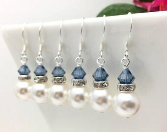 20% OFF SALE til 5-21-18 Denim Blue & Pearl Bridesmaid earrings • White Pearl earrings • Something blue earrings • Bridesmaid earrings • Bri