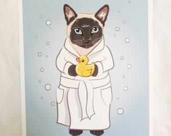 Bubbly Siamese Cat - 8x10 Eco-friendly Print