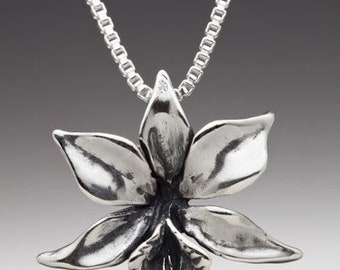 Flower Necklace Gift for Her Silver Orchid Necklace Orchid Charm Flower Charm Flower Pendant Silver Flower Flower Jewelry Hawaii Flower