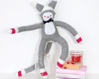 Sock Monkey Cat Doll -A toy made from a pair of soft ladies socks -pink detail