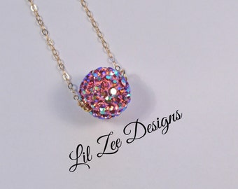 "Pink Iridescent Shamballa Ball Necklace With Gold Plated 18"" Chain Christmas Gift Ideas"