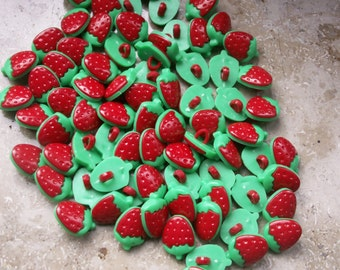 20 Red Strawberry buttons plastic 15 x 11 mm