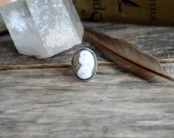 White Ocean Jasper Ring, Silver Ocean Jasper Ring, Earthy Ring, Bohemian Jewelry, Handmade Ocean Jasper Jewelry, White Stone Ring