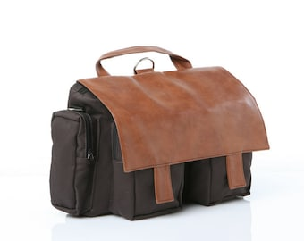 Brown Canvas,Padded Laptop, Briefcase,Messenger,Backpack -  Lola, Convertible Briefcase