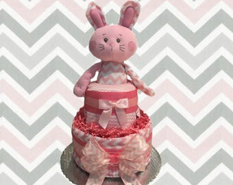 Pink and Grey Chevron Bunny Baby Shower Diaper Cake Gift Set