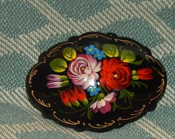 SALE......Hand Painted Tole ware Brooch with Black Lacquer background Russian Folk Art