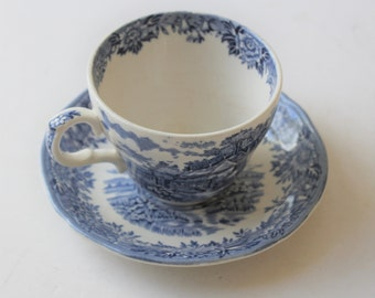 Vintage English Village blue and white ironstone flat cup and saucer sets, 6 sets, Salem China Company Olde Staffordshire, cottage dishware