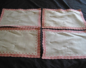 Cream pink cotton linen place mats, set of four, polka dot placements, cottage chic, shabby farmhouse, chic home decor