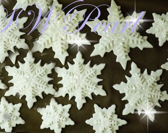Sugar White Double Snowflakes Edible Birthday Wedding Aniversary Cake Toppers