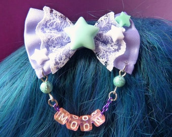 Purple and Mint Pastel Moon Stars Bow Hair Clip