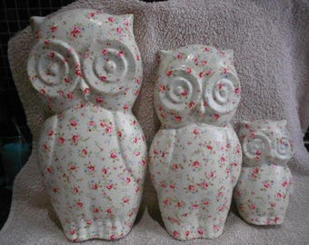 Trio of decoupage owls