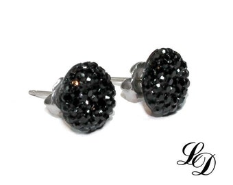 Sterling silver earrings, studs, Post earrings, druzy, rocker, gothic, contemporary, rockabilly, womans, Black diamonds, free shipping
