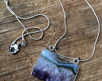 Amethyst stalactite slice necklace on sterling chain