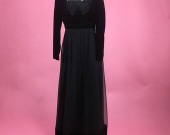1970's Miss Elliette Black Velvet and Chiffon Gown - Sz M/L