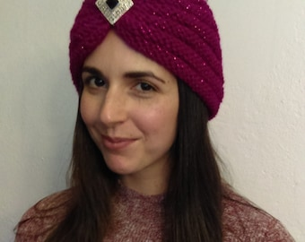 Knit TURBAN PATTERN - Berry Bling