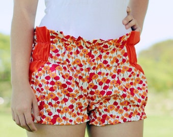 Organic Cotton Ruffle Shorts With Pockets Adult Size Au6