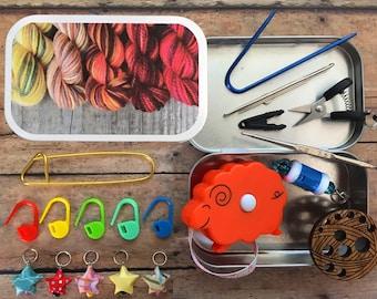 Phoenix Flame Mini Skeins - Knitting notions kit for travel/knit night/project bag - great miniature kit!