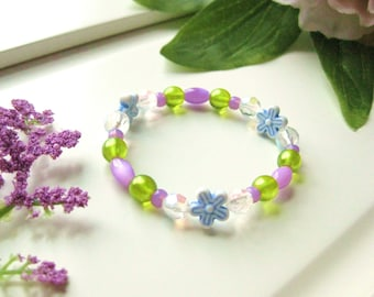 Purple, Green and Blue Girls Bracelet with Flowers, Small Stretch Bracelet, GBS 134