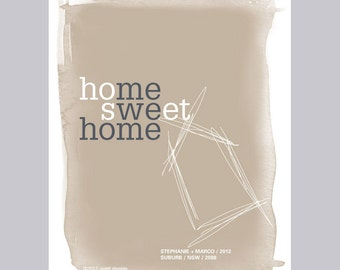 personalised home sweet home print / warm neutral