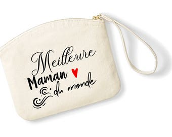 T7W Kit best MOM in the world, organic cotton, Toiletry Kit, Kit, personalized clutch, mothers day