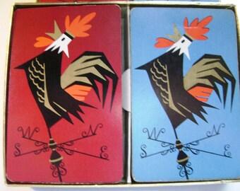 Vintage Set of 2 Decks Playing Cards, Rooster Weather Vane Gambling, Red Blue, Duratone, Ephemera Supplies, Game Good Morning Farmer REDUCED