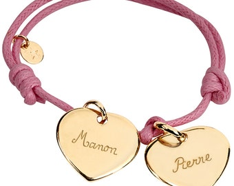 Bracelet two hearts gold or silver plated personalized solid