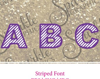 Striped Font, Striped Alphabet, Stripes  Font , Cute Font, SVG File, EPS File, JPG File, Monogram File, Monogram Cut File