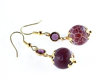 Frosted Purple Agate Earrings, Swarovski Crystal