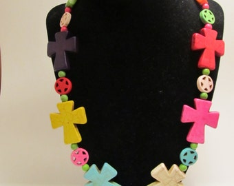 Colorful Magnesite Cross & Star Necklace
