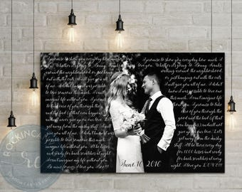 Wedding Photo Canvas/ Personalized Picture with text/ Photos on Canvas/ Gallery Wrapped Canvas by RockinCanvas