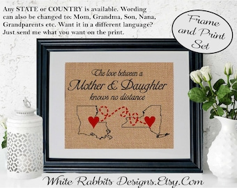 FRAMED Love Between a Mother & Daughter Knows No Distance Mom Gift Map Long Distance Love Mom Birthday Gift Mother's Day Gift (5001)