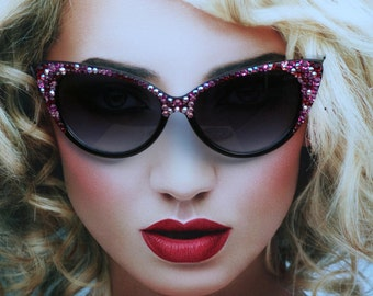 Embellished Cat Style Sunglasses, Rose & Garnet Swarovski Crystals on Black Shell Acrylic Frames, 100% UV Protection, Retro, Vintage Style