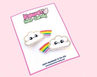 Rainbow Hair Clips / Toddler Hair Clips / Baby Hair Clips / Kawaii Hair Accessories / Cute Hair Clips / Rainbow Pride / Bang Clips
