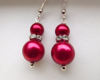 Red Pearl Wedding Earrings, Red Bridal Earrings, Red Pearl Earrings, Pearl and Rhinestone Earrings