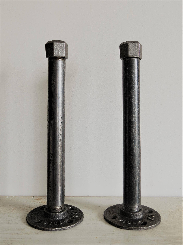 industrial pipe shelf brackets for floating shelves x2. Black Bedroom Furniture Sets. Home Design Ideas