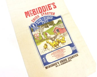 McBiddies Chick Starter Feed Bag, Vintage 1981 Bagtiques Reproduction Feedsack 6 lbs Cotton Bag, Farmhouse Home Decor itsyourcountry