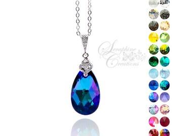 Purple Blue Necklace Heliotrope Crystal Swarovski Wedding Jewelry Bridesmaid Gift Bridesmaid Necklace Zirconia Dark Purple Necklace W02