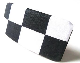 Black White Checkered Barrette
