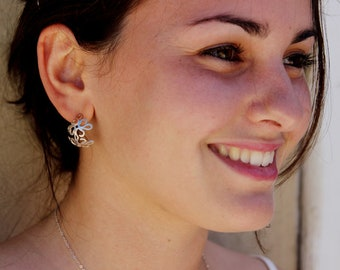 Hoop Earrings, Filigree Earrings, Silver Earrings, Small Hoop Earrings, Silver Hoops, Boho Hoops, Floral Earrings. Bridal Earrings