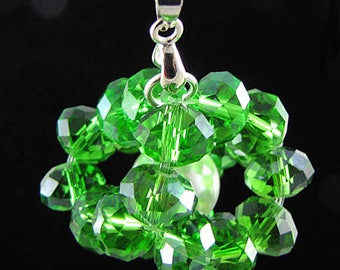 35mm faceted crystal rondelle pearl pendant bead green 17455
