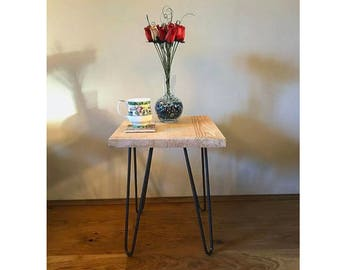 Handmade, Bespoke, Mid Century, Hairpin Legs, Rustic, Scandinavian Style, Side Table/Bedside Table/End Table, Solid Wood!