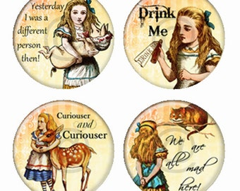 Alice in Wonderland Magnets or Pinback Buttons or Flatback Medallions Set of 4