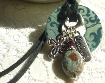 Believe Washer Pendant with Jasper Gemstone dangle and Charms on 24 Inch leather necklace