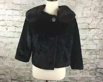 Vintage Faux Persian Lamb Cropped Jacket