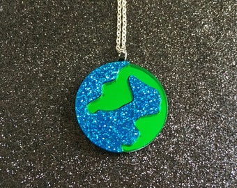 Laser Cut Earth Planet Glittery Space Statement Acrylic Necklace