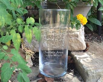 Memorial Vases - In Loving Memory Vase - Floating Angel Baby Memorial Candle - Memorial Candle - Engraved Memorial Cylinder