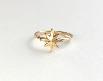 Star Ring 18K Yellow Gold Ring Stackable Ring Tiny Star