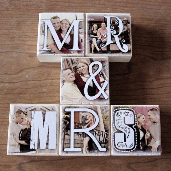 Homemade Wedding Gift Ideas: PERSONALIZED Photo Letter Blocks For Your Wedding MR. And