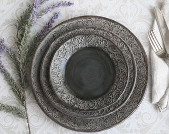 Modern Rustic Dinnerware Place Setting Handmade Ceramic Stoneware Black Gray Three Piece Rustic Dinner Plate Set & Black dinnerware | Etsy